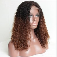 Wholesale Long Remy Lace Front Wigs - Brazilian Virgin Remy Human Hair Wigs sufaya Lace Front Wigs curly ombre color Hair Wigs T1B 30#