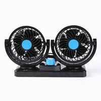 Pedestal black pedestal fan - 2 Head Degree Rotating Car Fans Strong Wind Low Noise Car Truck Air Conditioner Portable Auto Air Cooling Fan V V Black