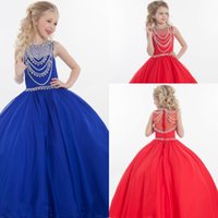 Wholesale Dresse For Girls - Hot Sales Royal Blue Red Girls Pageant Dresses Jewel Ball Gown Floor Length Rachel Allan Evening Dresse For Wedding HY1130