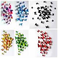 Wholesale Tv Wall Decoration - 3D Butterfly Wall Decals Multicolor PVC 3D Wall Stickers For TV walls Kids Bedroom Wall Home Decoration Removable