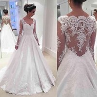 Wholesale Tailored Gowns - Vintage Tailor Made Wedding Dresses Scoop Long Sheer Sleeve Wedding Gowns Sheer Back With Applique Sweep Train Custom Made Bridal Dress