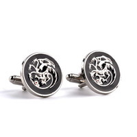 Wholesale Head Games Movie - Game of Thrones jewelry jon snow house Targaryen badge 3 heads dragon Cufflinks movies french cufflinks for men zj-0903648