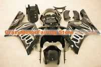 Wholesale Zx6r Silver Black - 3 Free gifts New Fairing kits for 03 04 ZX 6R 636 2003 2004 Ninja ZX6R ZX636 ABS fairings Body kits Cool black Silver flame