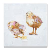 modern yağlı boya tablaları toptan satış-Çerçevesiz Resimler Duvar Modern Tuval Sanat Ev Dekor Oturma Odası Duvar Resimleri Küçük Tavuk Yağlıboya 1 Peices No çerçeveli