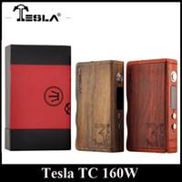 Wholesale Electronic Cigarettes 1pcs - Authentic Tesla Wood 160W Box Mod Tempeture Control 160W TC Box mod Electronic Cigarette Box 7-160W Power Wood Mod 1pcs Free Shipping