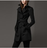 Wholesale Classic Trench Coat Women - HOT Classic Women Fashion British Middle Long Double Breasted Trench Autumn winter Coat Designer High Quality Elegant Outerwear A046 S-XXL