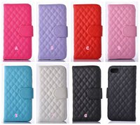 Wholesale Iphone Quilted Leather - Checkered Slot Stand Holder Quilted Diamond Wallet Leather For Iphone 7 Plus Galaxy Note7 Fashion Sheep Photo Card Slot Money Pocket Pouch