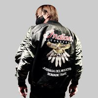 Wholesale Leather Pilot Jacket For Men - Wholesale- 2016 Air Force one MA1 flying jacket for Men Women PU Leather Embroidery varsity motorcycle Coat bomber pilots flight Outerwear