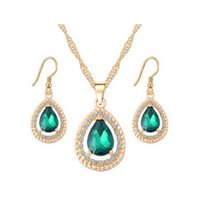 Wholesale emerald wedding earrings - 18K Gold Plated Crystal Paved Ruby Emerald Sapphire Teardrop Dangle Earrings Necklace Jewelry Sets for Women