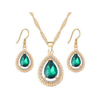 ensembles de collier en or émeraude achat en gros de-Ensemble de bijoux en or 18 carats en cristal doré / Emerald / Sapphire Teardrop Dangle Earrings Necklace Ensembles de bijoux pour femmes