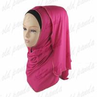 Wholesale Hijab Knit - ashionable Cotton Jersey Chain Border Hijab Zipper Muslim Shawls Gold Ball Islamic Modal Scarves Long Wraps Free Shipping