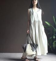 Wholesale Maxi Long Vintage Skirts - Plus Size Linen Women Summer Vest Gown Dress Casual Loose V Neck Vintage Cotton Long Maxi Skirt Vintage Sleeveless Dresses Clothing