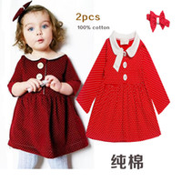 Robe Automne enfants Robe Angleterre Style de Baby Girl dot Princess Party Enfants Coton Manches longues Robe + 2pcs hairband filles automne chemises
