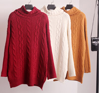 Wholesale Knit Cable Sweater - Wholesale- 2016 Autumn New Fashion Sweaters Women Casual Long Sleeve Twist Turtleneck Chunky Cable Knit Sweater Free shipping