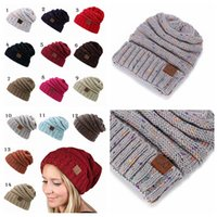 Wholesale Skull Hooded - CC Winter Hat Casual Knit Hat Thic Female Warm Hoods Skulls Hooded Hats Hoods 14 COLORS YYA591