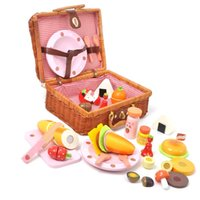 Wholesale Strawberry Baskets - Baby Toys Mother Garden Strawberry Picnic Basket Set Wooden Toys Rattan Basket Food Toys Baby Educational Birthday Gift