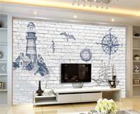 Wholesale Minion Bricks - Lighthouse Pharos Photo Wall Mural Minion Wallpaper Abstract Wallpaper Beacon for Living Room TV Background 3D Brick Wallpaper