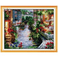 Wholesale Cross Stitch Mirror - The Lakeside Houses Counted Cross Stitch 11CT 14CT Cross Stitch landscape Cross Stitch Kits for Embroidery Home Decor Needlework