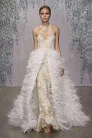 Wholesale Long Dress Ostrich Feather - ostrich feather detachable overskirt wedding dresses 2017 monique lhuillier lace wedding gowns stunning jewel neckline bridal gowns
