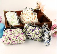 Wholesale Gift Bags Ties - Hot sale Fashion sweet print cotton coin purse key holder wallet hasp small christmas gifts bag wc001