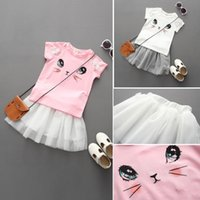 Wholesale Cute Rabbit Wearing Clothes - 2 Color Baby Girls Suits baby wear girls cute rabbit printing t-shirt +Tutu skirts sets kids casual 2pcs Suit children clothing