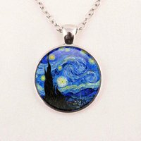 Wholesale Painted Glass Art - New Fashion Vincent Van Gogh Painting Necklace Painting Jewelry Art Glass Cabochon Necklace