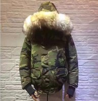 Wholesale Plus Size Camouflage - Camouflage Print Euro Size Mens Popular Wolf Fur Collar Winter Jakcet Warm Plus Size Male Down Manteau Good Quality Hooded Overcoats