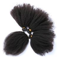 ingrosso capelli ricci 4pc-Virgin brasiliano Afro Kinky capelli ricci tessuto con 4 * 4 chiusura in pizzo a tre parti 4Pc Afro capelli ricci vergini con chiusura in pizzo 5 pezzi / lotto