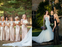 Wholesale Long Bridesmaid Dresses Bling - Hot Sell Bridesmaid Dresses 2015 Sequins Bling Mermaid Party Dresses Backless Formal Cheap Maid of Honor Gowns Custom Made