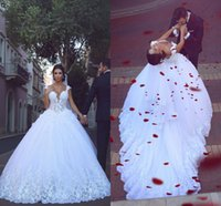 Wholesale Ball 3d Model - 2016 Lace Cap Sleeves Wedding Dresses Sexy V Neck 3D Floral Appliques Lace Up Hollow Back Bridal Gowns Ball Gown Court Train Wedding Gowns
