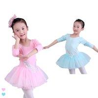 Wholesale Long Ballet Dresses - Children Kids Pink Sequin Vest Long Sleeve Ballet Dance Tutu Dress 4-14 Years Girls Dance Costumes