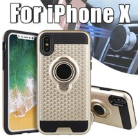 Wholesale Iphone Case Gold Rings - For iPhone X Armor Cell Phone Case TPU PC Magnetic Suction Bracket for 8 7 6 Plus Samsung Galaxy Note 8 S8 Cover 360 Degree Ring Holder