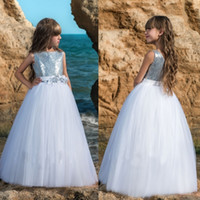 Wholesale Material Flowers For Dresses - Cute Flower Girl Dresses For Weddings Sequined Material Hand Made Flower Sash Floor Length Tulle First Communion Dress Special Occasion