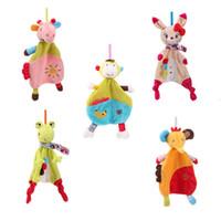детские развивающие игрушки оптовых-Wholesale- Baby Rattles Mobile Toy Soft Animal Style Comfort Appease Towel Cute Plush Doll Toy Newborn Infant Teether Chew Toy Baby Bibs