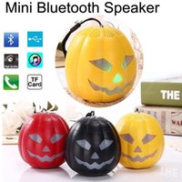 Wholesale flash xmas cards - Pumpkin Mini Bluetooth Speakers LED Flash Light Multi-color Speaker TF Ultra Clear Sound Outdoor Cycling Hiking Travel Halloween Xmas Gift