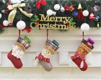 Wholesale Trumpet Santa Claus - 2017 happy new year 3 style The trumpet Christmas decorations for the New Year gift Santa Claus snowman socks Christmas socks gift bag