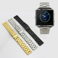Wholesale Three Metal Bracelet - Stainless Steel Metal Band For Fitbit Blaze Watch Band Accessory Silver Balck Gold Three Strains Link Bracelet Strap Standard