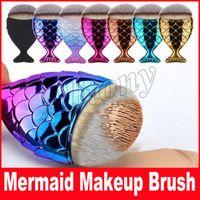 Wholesale Multi Hair Colors - New Mermaid Makeup Brush Powder Contour Fish Scales Mermaidsalon Foundation Brush face brushes for Beauty Cosmetics Multi Colors