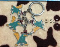 Wholesale Phineas Ferb Figures - Hot Sale 50Set Cartoon Animation Phineas and Ferb Metal Keychain Bag Pendant Children Toy Gifts Party Favors