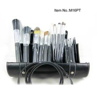Wholesale Professional Makeup Kit 16 - New Professional 16 Pieces Brush Sets+Leather Pouch 16pcs Makeup Brushes Free Shipping 10pc