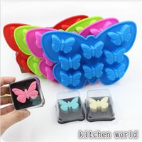 Wholesale Butterfly Candy Mold - 1 pc 8 Holes 3D Butterfly Shaped Cake Mold Silicone Soap Candy Chocolate Ice Mould Handmade Baking making Mold Random Color