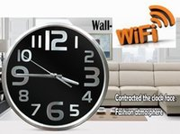 Wholesale High Quality Wall Clocks - Motion detection HD 1080P WIFI Camera Round Digital Smart Wall-mounted Clock Camera Mini Camcorders Home security baby monitor high quality