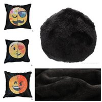 Wholesale Outside Sofa - Emoji Sequins Cushion Cover Wool Outside Christmas Decorations for Home Sofa Throw Pillows Changing Emojis Pillow Case Christmas Gifts