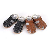 Wholesale Toe Loop Sandals Wholesale - New Toddler Little Boys Handmade Sandals Toe-protection Genuine Leather Hook&loop Sweat Absorbing Anti-slip Anti-friction 1-5Y Walking Shoes