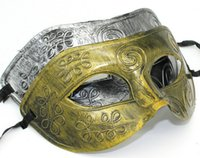 Wholesale Roman Costumes For Women - Men's retro Greco-Roman Gladiator masquerade masks Vintage Golden Silver Mask silver Carnival Mask Mens Halloween Costume Party Mask