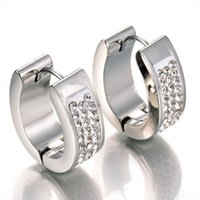 Wholesale Stainless Earing - Never Fade Stainless Steel Jewelry 3 Row Crystal Hoop Earrings Stainless Steel Band 6mm Wedding Bridal Earing For Party Gift