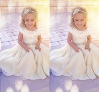 Wholesale Simple Flowergirl Dresses - Crew Neck White Floor Length Chiffon Flower Girl Dresses Beaded Sash Simple Adorable Gowns for Kinds Cap Sleeve Ruched Flowergirl Dresses