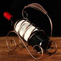 Wholesale Wholesalers Iron Wine Holders - Brand New Europe Style Fashion and Creative Moon Shape Design Iron Art Wine Rack Vintage Wine Rack