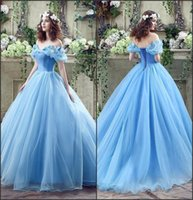 Wholesale Red Carpet Gown Ice - 2017 Graceful Ice Blue Cinderella Ball Gowns Quinceanera Dresses Off the Shoulder Girls Masquerade Ball Gowns Lace-up Back In Stock CPS239