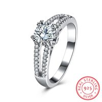 Wholesale Sparkling Rhinestone Ring - Wedding Ring Real 925 Sterling Silver Rhinestone White Cubic Zirconia Sparkle Christmas Gift Women Ladies Jewelry 6 7 8 9 SVR122